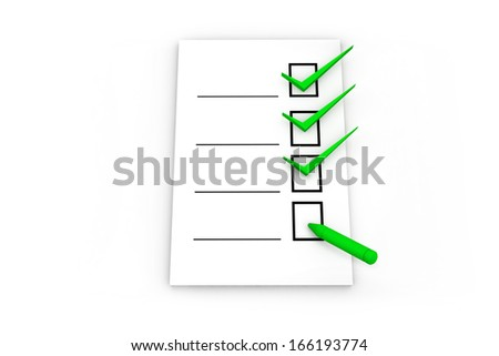 3D clipboard with checklist and pen on white background.