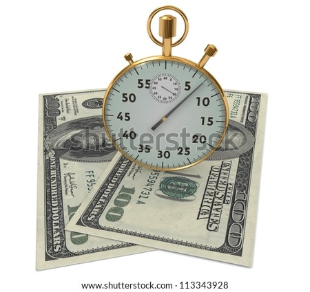 3d clock and dollars on a white background - stock photo