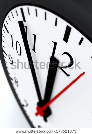 3D Clock face showing the hands at five minutes to midnight