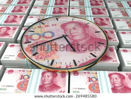 3D clock on piles and stack of China money - stock photo