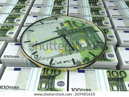 3D clock on piles and stack of Europe money - stock photo