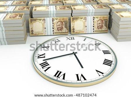 3D clock on piles and stack of Indian money