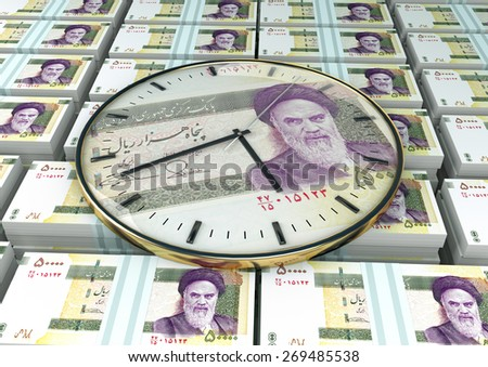 3D clock on piles and stack of Iran money - stock photo