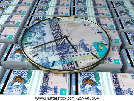 3D clock on piles and stack of Kazakhstan money - stock photo