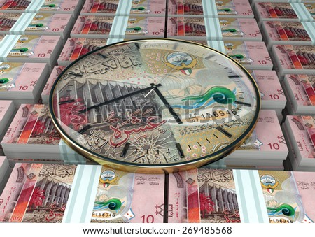3D clock on piles and stack of Kuwait money - stock photo