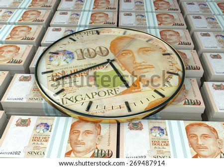 3D clock on piles and stack of Singapore money - stock photo