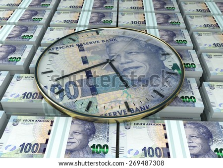 3D clock on piles and stack of South Africa money - stock photo