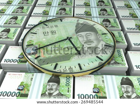 3D clock on piles and stack of South Korea money - stock photo