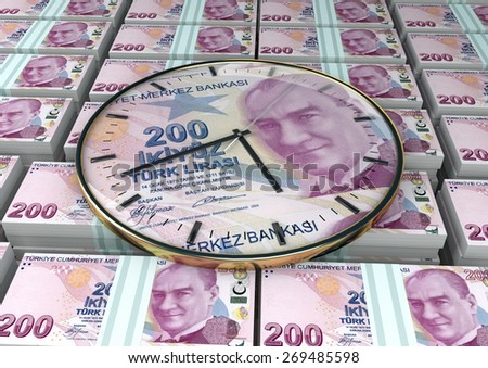3D clock on piles and stack of Turkey money - stock photo