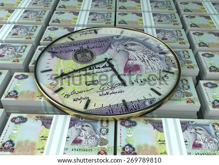3d clock with United Arab of Emirates currency printed inside it on piles,stack of emirates money - stock photo