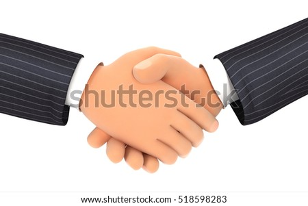 3d close up of business handshake, illustration with isolated white background