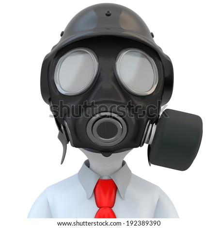 3d close-up of business man with gas mask on white background