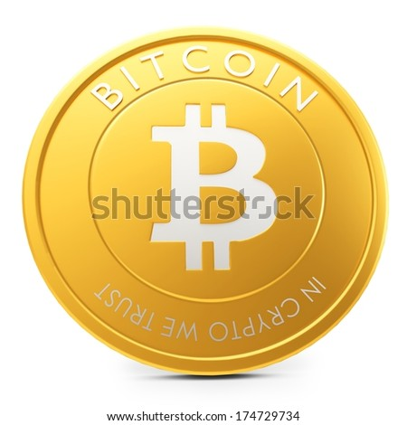 3d close-up of golden Bitcoin coin, decentralized crypto-currency on white background - stock photo
