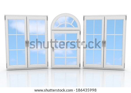 3d closed plastic windows on white background - stock photo