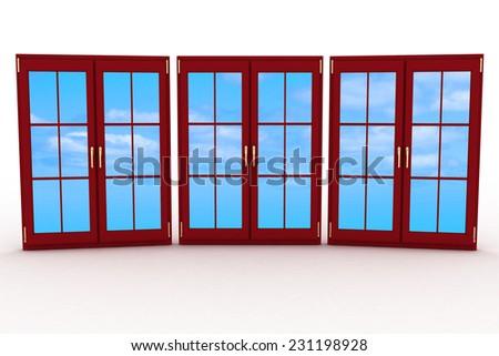 3d closed plastic windows on white background - stock photo