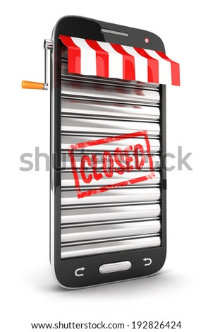 3d closed supermarket smartphone, isolated white background, 3d image - stock photo