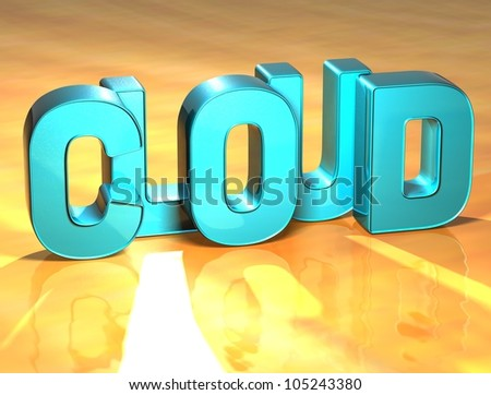 3D Cloud Blue Sign over yellow background