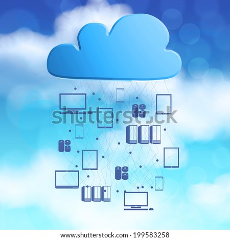 3d Cloud Computing diagram icon on blue sky background as concept - stock photo