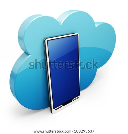 3d Cloud-computing on the mobile smart phone on white background