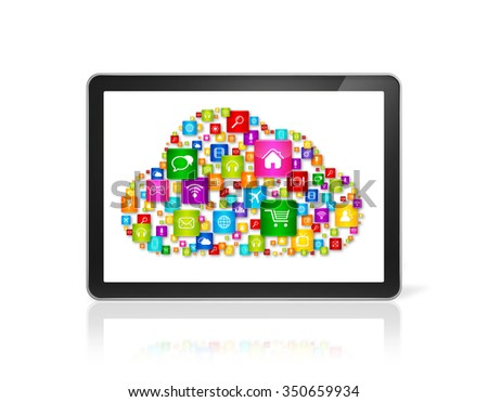 3D Cloud computing symbol in Tablet pc computer - front view - isolated on white