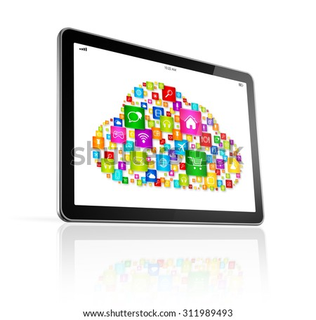 3D Cloud computing symbol on Digital Tablet pc - isolated on white with clipping path