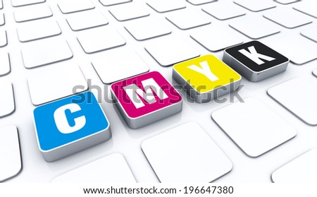 3D cmyk color letters symbol 3 - stock photo