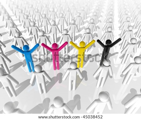3D cmyk colored icon people between white people - stock photo