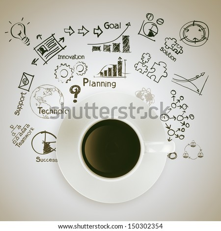 3d coffee cup on  business strategy diagram as concept - stock photo