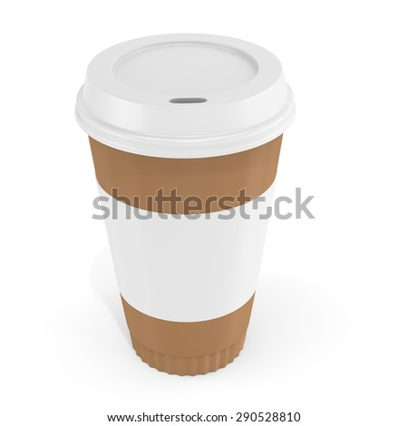 3d Coffee Cup with blank label on white background