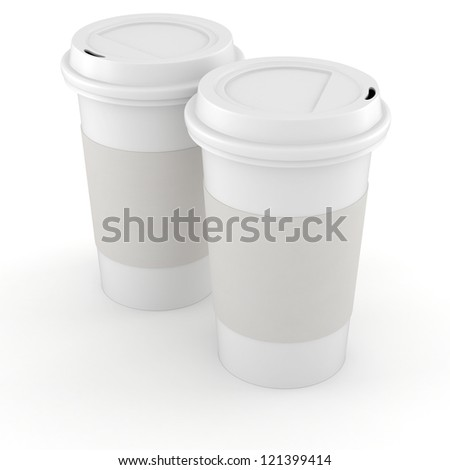 3d coffee paper cup on white background - stock photo