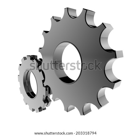 3d cog gear on white background  - stock photo
