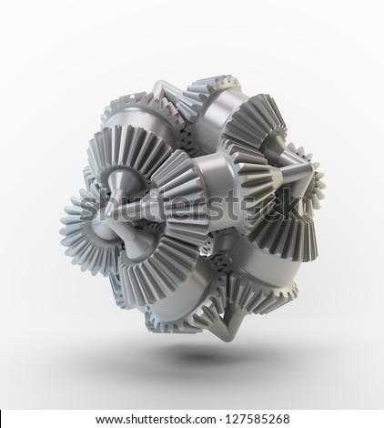 3D cogs - brain cog object - stock photo