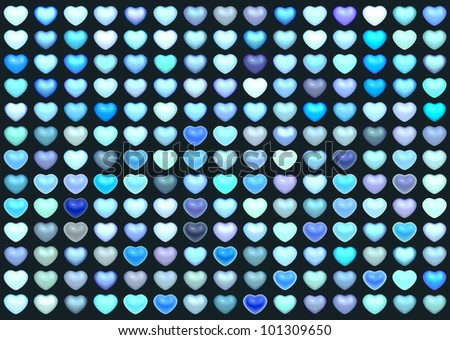 3d collection floating love heart in multiple blue on deep blue - stock photo