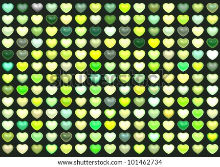 3d collection floating love heart in multiple green on deep green - stock photo