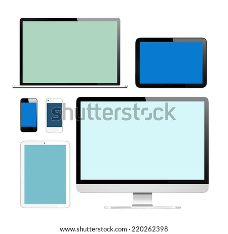 3D Collection of Digital Devices - stock photo