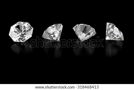 3d collection of four various diamonds isolated on black background