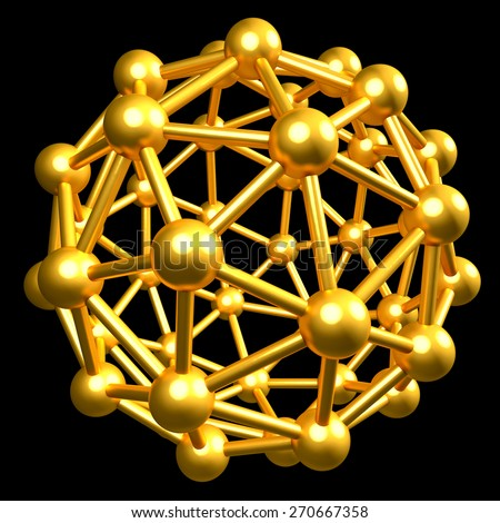 3D collection of gold objects. atomic molecule isolated on black background. High resolution - stock photo