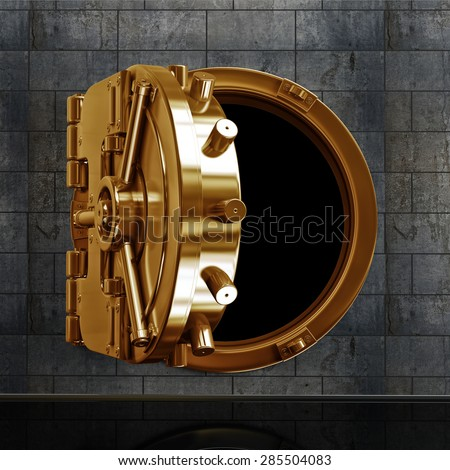 3D collection of gold objects. bank vault door. High resolution