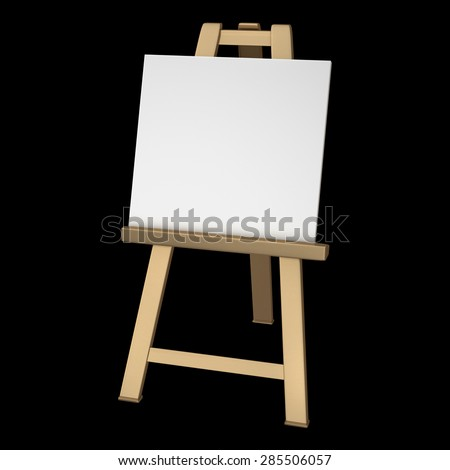 3D collection of gold objects. Blank whiteCanvas on easel isolated on black background. High resolution