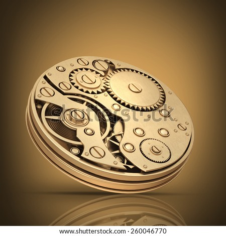 3D collection of gold objects. gearbox watch mechanism. High resolution