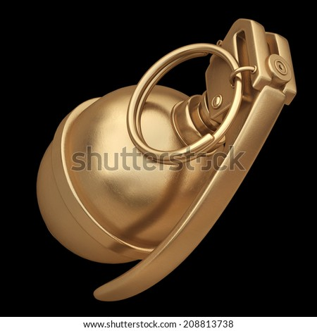 3D collection of gold objects. Grenade  isolated on black background. High resolution  - stock photo