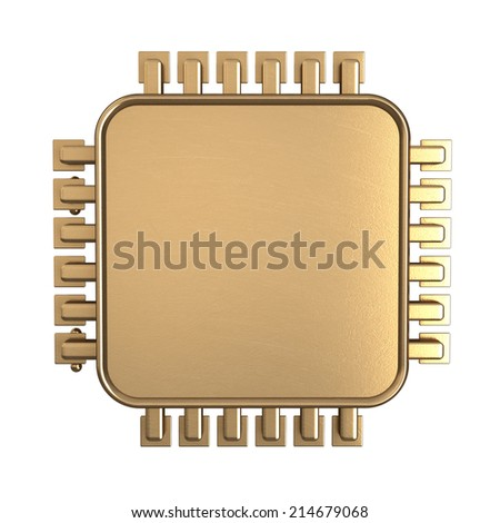 3D collection of gold objects. Processor unit CPU isolated on white background. High resolution  - stock photo