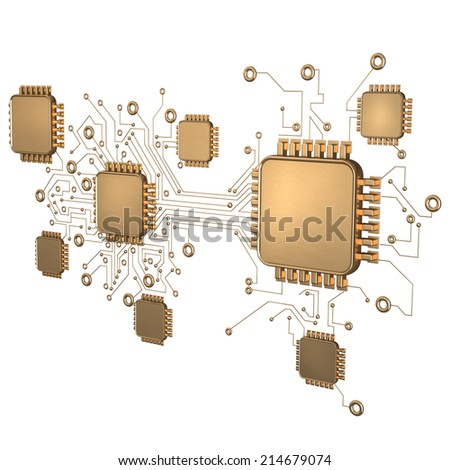 3D collection of gold objects. Processor unit CPU isolated on white background. High resolution