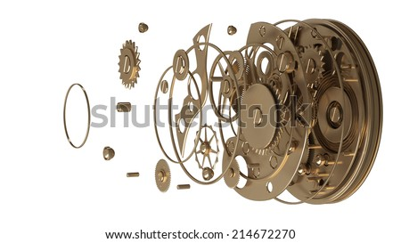 3D collection of gold objects. watch mechanism isolated on white background. High resolution  - stock photo