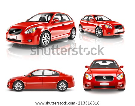 3D Collection of Luxury Red Sports Car - stock photo