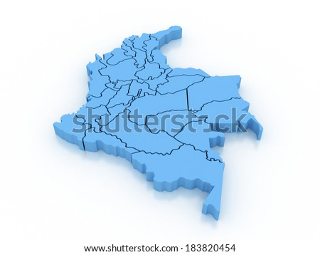 3d Colombia administrative map - stock photo