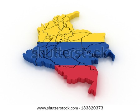 3d Colombia Administrative Map Flag Stock Illustration 183820373