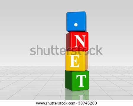 3d color cubes with white letters with text dotnet with reflection