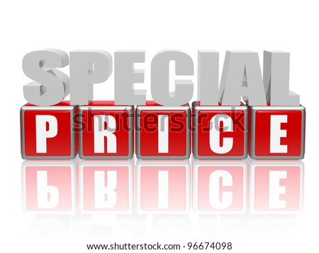 3d color letters and cubes with text - special price - stock photo