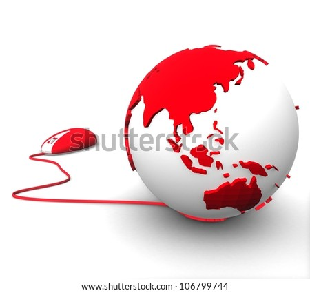 3d color of the planet earth with the bears on a white background - stock photo